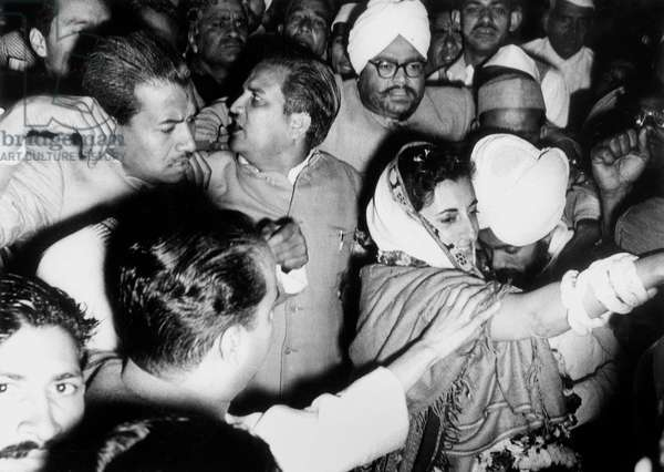 Indira Gandhi President of party of Congress here among the crowd February 9, 1959