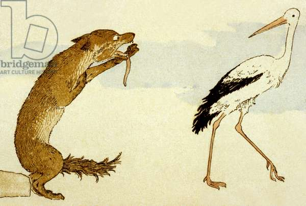 La Fontaine's fable 'The Wolf and the Stork', 1888 (colour litho)