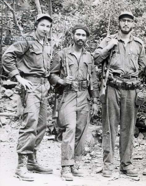 l-r : Fidel Castro, Juan Almeida and Raul Castro (brother of Fidel) known as 'Cuban Rebels', c. 1959