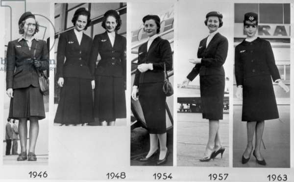 The evolution of the uniform of Air France stewardess beatween 1946 and 1963