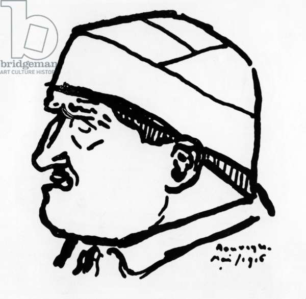 Guillaume Apollinaire (1880-1918) French poet, drawing by Andre Rouveyre, May 1916 (wounded at head during war)