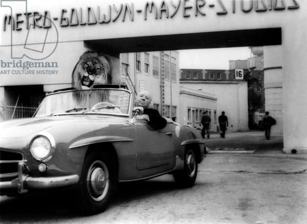 Alfred Hitchcock dans sa Mercedes 190 SL posing in a car with Leo the Lion on the MGM lot while making NORTH BY NORTHWEST, 1959