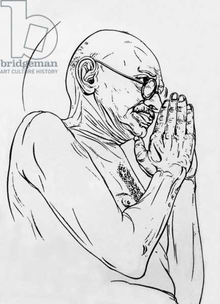 Mohandas Karamchand Gandhi (1869-1948) aka Mahatma Gandhi, Indian politician and nationalist, anonymous drawing