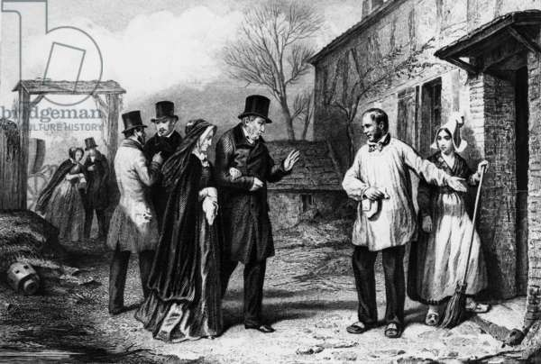 Former French King  Louis Philippe (Orleans) with his wife former Queen Marie Amelie, in exile, arriving in a farm for the night after his abdication, 1848, engraving