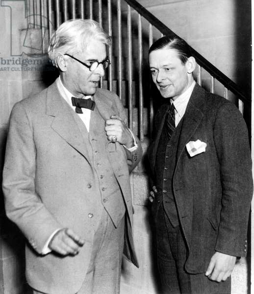 Poets William Butler Yeats and Thomas Stearns Eliot (T.S. Eliot) c. 1933