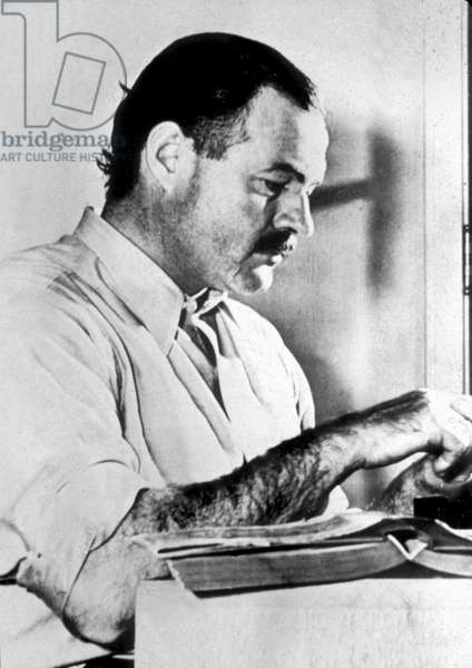 Ernest Hemingway (1899-1961) American novelist and author of short stories, here in Sun Valley, Idaho, 1939