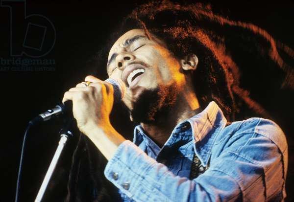 Bob Marley on stage at Roxy Los Angeles May 26, 1976