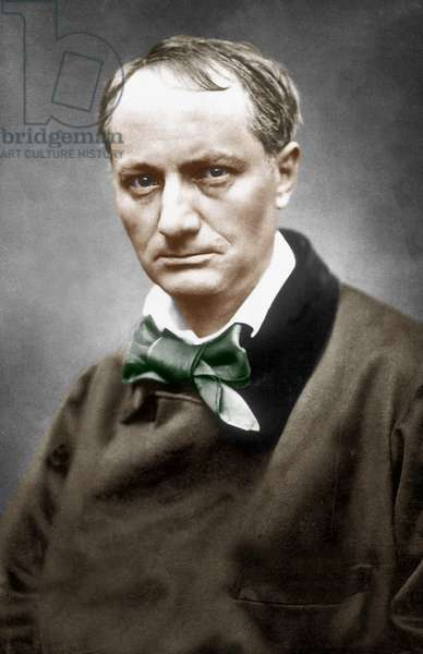 Charles Baudelaire (1821-1867) French poet photo by Etienne Carjat c. 1866 colourized document