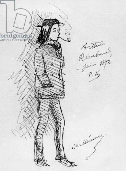 Arthur Rimbaud (1854-1891) French poet, smoking pipe, drawing by Paul Verlaine, 1872