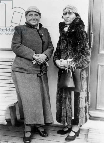 GERTRUDE STEIN (1874-1946) eccentric writer with international reputation and art collector with her inseparable companion, Alice B. Toklas