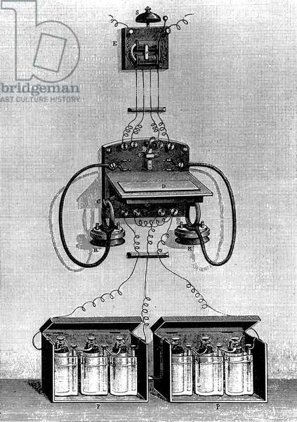 Phone Ader in 1878 invention of Clement Ader one of phone pioneers in France, engraving