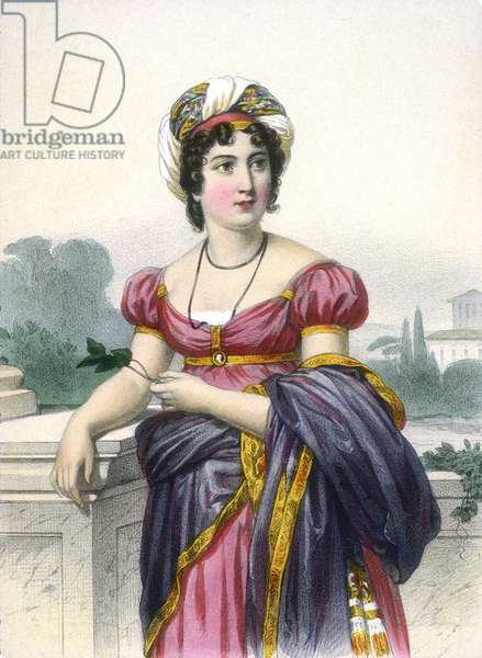 French writer Anne-Louise Germaine Necker, baroness of Stael-Holstein, known as Madame de Stael (1766-1817), engraving after Francois Gerard