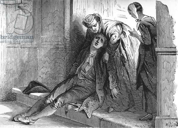Because of want, French writer Denis Diderot (1713-1784) fainted in the street, Paris, 1743, engraving