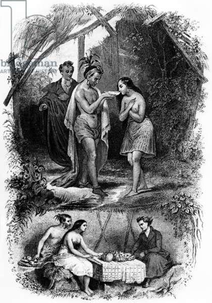 "Illustration of novel ""Les Natchez"" by Francois Rene de Chateaubriand, 1851 (engraving)"