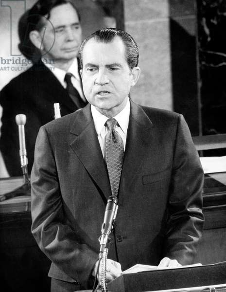 American President Richard Nixon during 92th congress session January 26, 1971