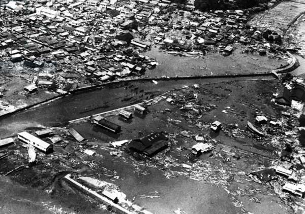 Tsunami in Japan (following the earthquakes in Chile) : view of the devastation in Miyagi, on June 7th, 1960