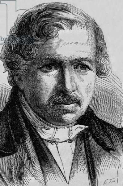 Louis Daguerre (1787-1851), painter, decorator, inventor of diorama and daguerreotype (1837), co-inventor of photography (1839), engraving