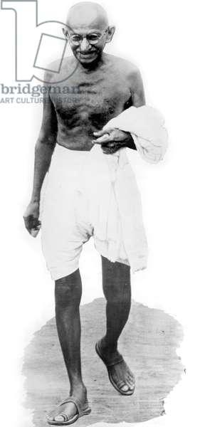 Mahatma Mohandas Karamchand Gandhi (1869-1948) Indian independantist leader, hindu spiritual leader and apostle of nonviolence, here c. 1948