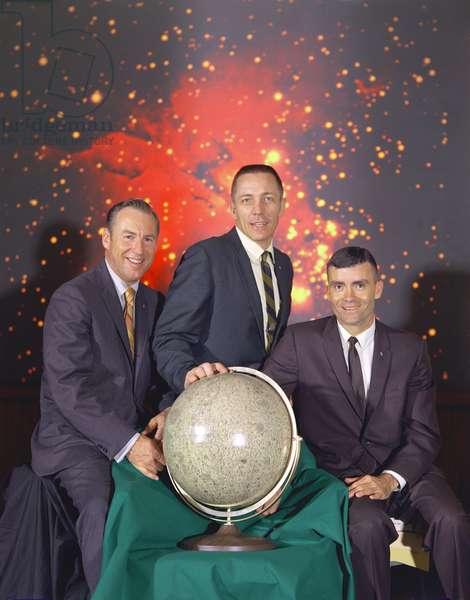 The actual Apollo 13 lunar landing mission prime crew from left to right are: Commander, James A. Lovell Jr., Command Module pilot, John L. Swigert Jr.and Lunar Module pilot, Fred W. Haise Jr. April 1970