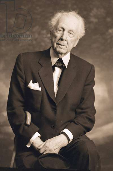 Frank Lloyd Wright (1867-1959) American architect, here in 1956
