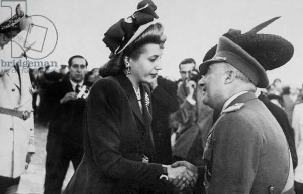 Eva Peron and General Francisco Franco, head of Spanish state, in April 1947