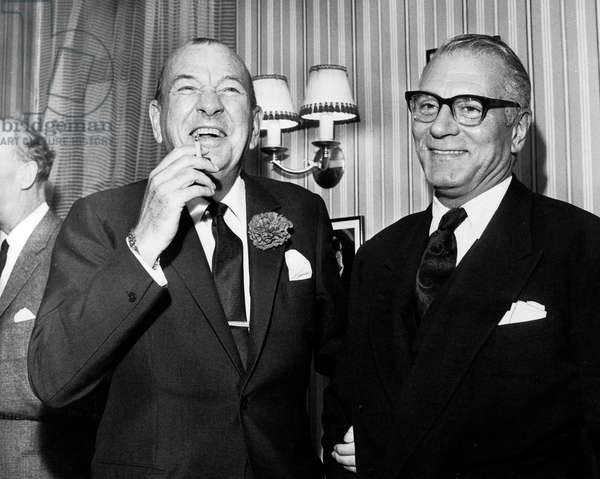 English Actor and writer Noel Coward with Sir Laurence Olivier who arrived to Manchester 20/10/64