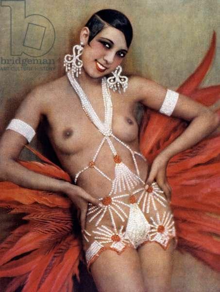 """Poster showing Josephine Baker (1906-1975) wearing a suit by Georges Barbier in revue """"Un vent de folie"""" at the Folies Bergere, Paris, 1927 (colour litho)"""