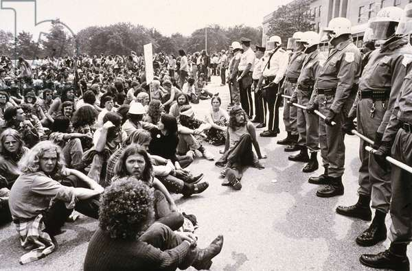 ANTI-VIETNAM WAR PROTEST.  Demonstrators in Washington, D.C., sitting-in in protest of the Vietnam War, 21 May 1972.