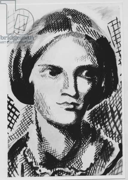 Charlotte Bronte (1816-1855) English writer, drawing by M. Crepy