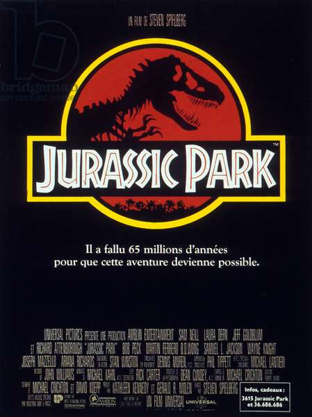 Poster of the film Jurassic Park by StevenSpielberg (after MichaelCrichton), music by American composer John Towner Williams. 1993