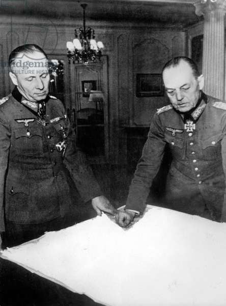 Erwin Rommel , chief General of Afrika Korps , (left) here with Gerd von Rundstedt, the German Commander in Chief West January 1944 at the headquarter of Rommel at the Roche Guyon