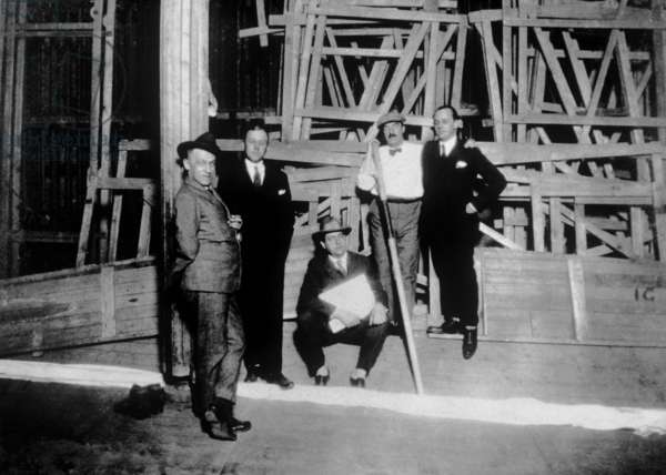 Rolf de Mare, Fernand Leger and Jean Borlin and Milhaud, 1923 (b/w photo)