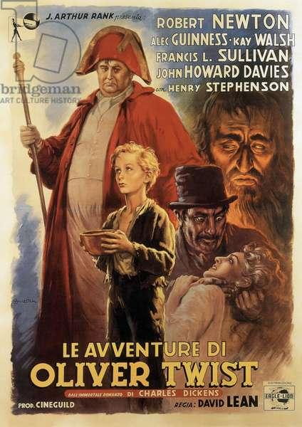 Oliver Twist (Le Avventure di Oliver Twist) de DavidLean avec Alec Guiness Guinness et John Howard Davies 1948 (d'apres Charles Dickens, after Charles Dickens) affiche de AnselmoBallester