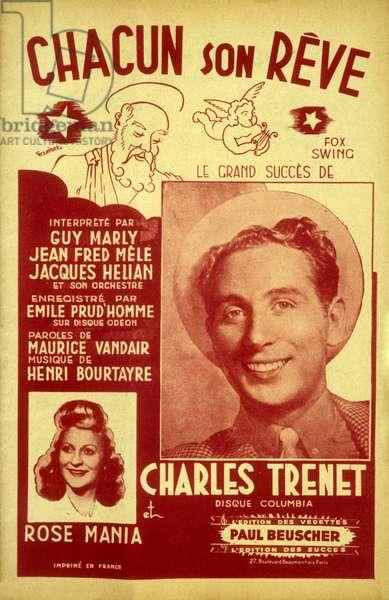 "Charles Trenet et Rose Mania "" Chacun son reve "" Editions Paul Beuscher. 1942"