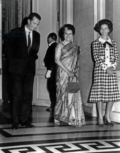 King Baudouin 1st of Belgium, Indira Gandhi and Queen Fabiola in Brussels on October 26, 1971