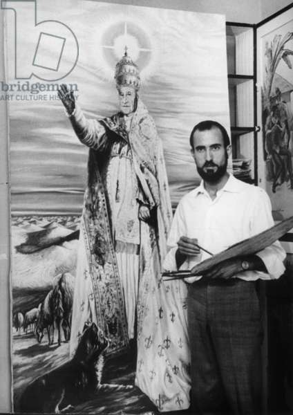 Actor and painter Miguel Madrid finishing a painting by Pope John XXIII (Angelo Giuseppe Roncalli) on July 28, 1963