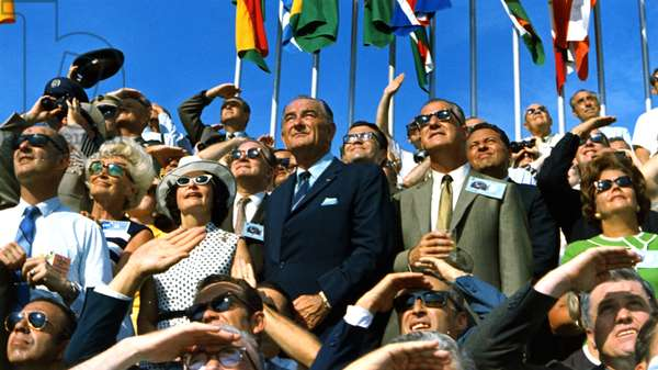Spiro Agnew and Lyndon Johnson Watch the Apollo 11 Liftoff : Vice President Spiro Agnew and former President Lyndon B. Johnson view the liftoff of Apollo 11 from pad 39A at Kennedy Space Center at 9:32 am EDT on July 16, 1969