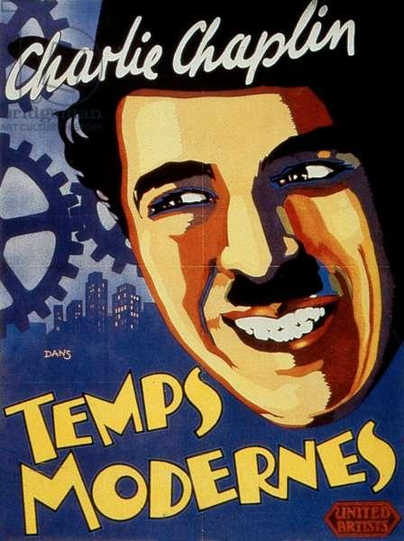 Affiche du film Les temps modernes de CharlesChaplin avec Charles Chaplin (Charlie Chaplin) 1936