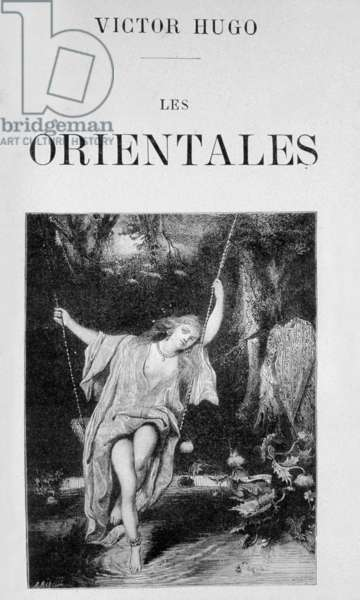 """Cover of book Les orientales"""" by Victor Hugo, drawings and engravings by F. Meaulle 1829"""