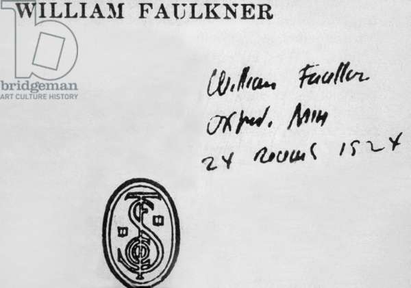 Signature of William Faulkner (1897-1962) American writer