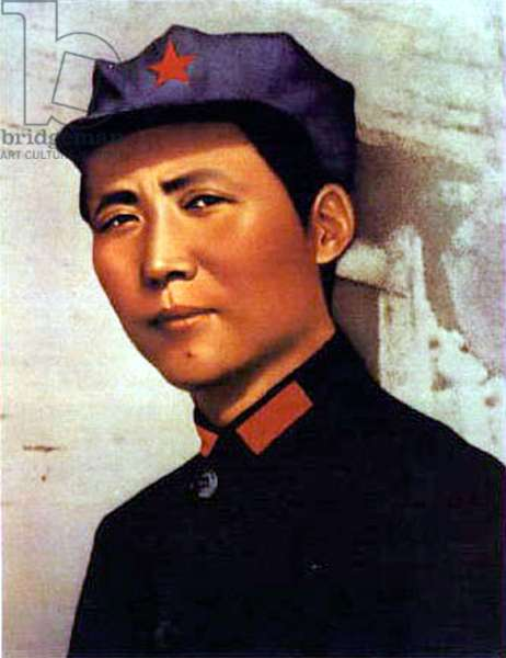 young Mao Tse Zedong (1893-1976) poster for 1000 years of life for President Mao c. 1921 at time of creation of chinese communist party