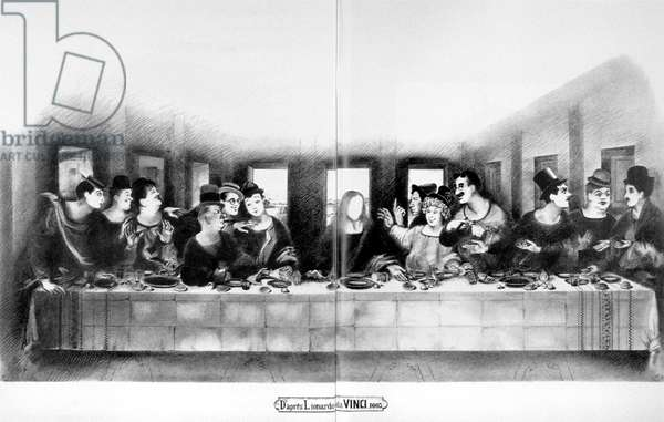 Humorous drawing depicting Leonard De Vinci's La Cene. With Laurel and Hardy, Charlie Chaplin, The Marx Brothers. Drawing by Pierre Etaix