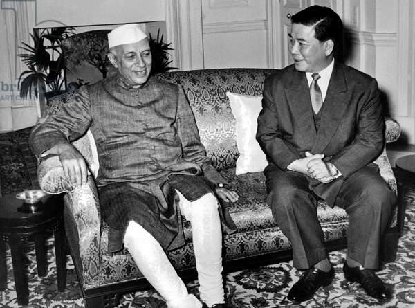 South Vietnam President Ngo Dinh Diem with Indian Prime Minister Nehru during visit in India November 8, 1957