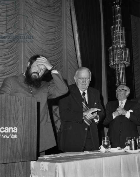 Russian writer Alexandre Soljenitsyne in Americana hotel in New York July 1975 when he made a speech against soviet union and marxist ideology of USSR with 2 union activists : Paul Hall (Pres. of the Seaf rer's Union) and Teddy Gleason (Pres. of the Int'1. longshoremen's association)