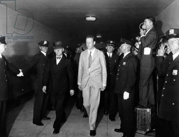 Charles Lindbergh, here c. 1934 entering County Courthouse , New York to witness during the trial of Bruno Richard Hauptmann for the murder of her son after kidnapping (March 1932)