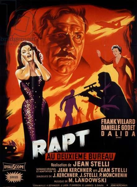"""Affiche du film """"Rapt au deuxieme bureau"""" 1958 de JeanStelli avec Franck Villard Danielle Godet et Dalida"""