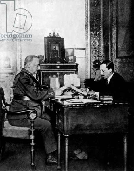 General Miguel Primo de Rivera (l, dictator in 1923-1930) and King  of Spain Alfonso XIII in palace in Madrid, May 16, 1925