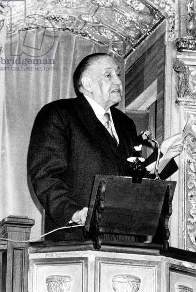 Alejo Carpentier cuban novelist during his speech for giving of Cefvantesprize on April 4, 1978