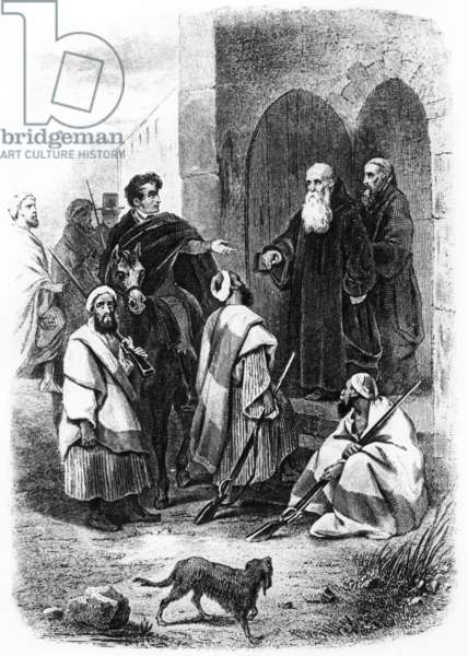 "Chateaubriand leaving Bethleem, engraving for ""Itineraire de Paris a Jerusalem"" by Francois Rene de Chateaubriand, 1852, France"