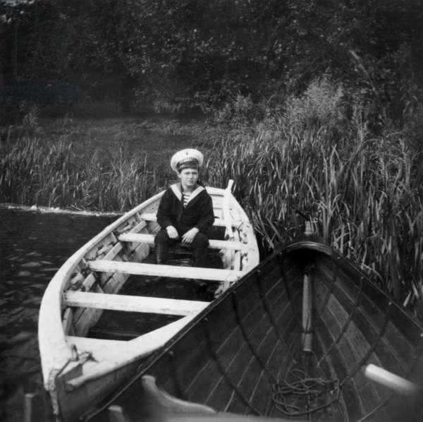 Czarevitch Alexis Nicolarevitch (1904-1918) haemophiliac son of russian czar NicolasII (Romanov dynasty) here in Peterhof in a small boat, 10's